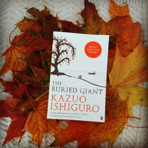 the buried giant kazuo ishiguro cover autumn leaves book and biscuit