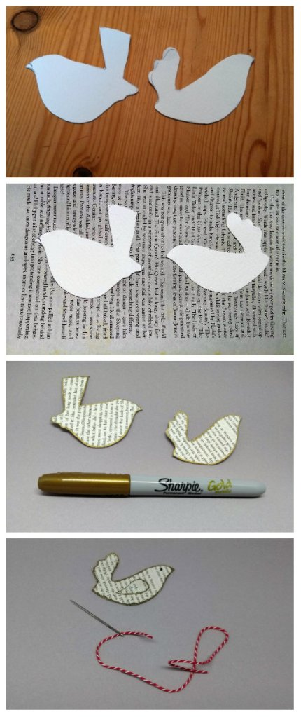 step by step guide to making a paper bird ornament