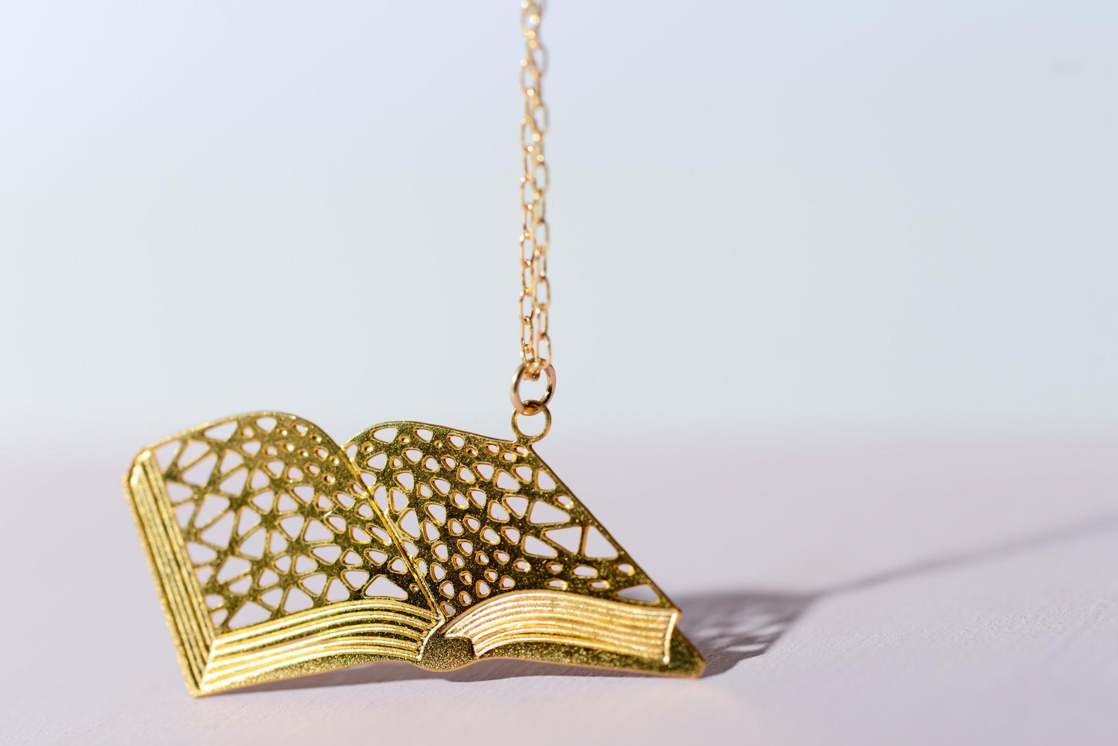 Geometric book necklace for bookworms