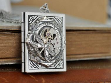 Steam punk book locket with dragonfly