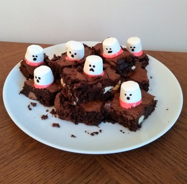 triple chocolate ghost brownies easy halloween bake with kids